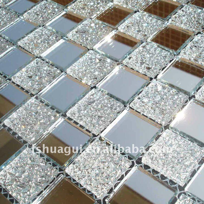 Argento hg jm001 specchio mosaico di vetro piastrelle di - Piastrelle di vetro ...