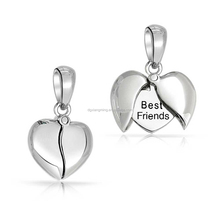 Stainless Steel High Polish Puffy Broken Heart Locket Pendent Opened