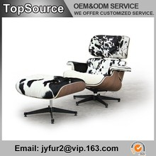 Luxury Leisure Cowhide Charles Eames Lounge Chair with Ottoman