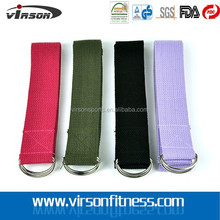 D-Ring Buckle Cotton Stretch Exercise Yoga Mat Strap, Yoga Belt Strap