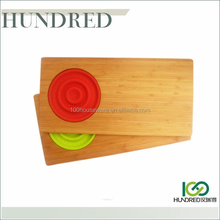 Bamboo Lap Cutting Boards with color silicone colander