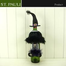 funny halloween party witch hat bottle topper black dress wine accessories set
