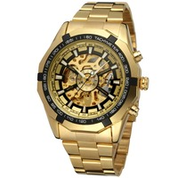 Forsining Gold Skeleton Watch Luxury Men Brand Automatic Made In China