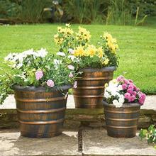 3 pcs bronze effect flower pots