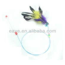 Color Feather with Bell and Jewellery Cat Play Toys Cat Sticker Stainless Steel Pet Products Cat Dog Toys Wholesale T1003