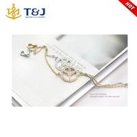 Gold silver plated women alloy crystal friendship peace bracelet