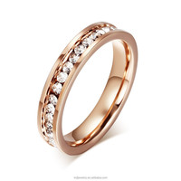 Fashion Crystal Ring Jewelry Stainless Steel 18k Plated Gold Pave Crystal Ring