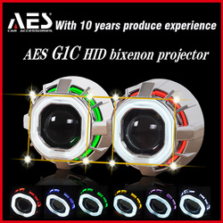 AES G1C wholesale price motorcycle hid xenon light, H4 projector headlights with halo angel eyes