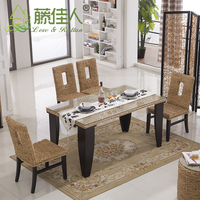 Vogue Heavy-duty 6 seat rattan wicker wooden dining table and chair set