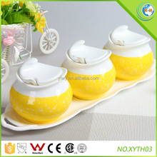 Moon Shape Round Body Ceramic Sugar Pot Set with Lid
