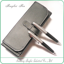 2015 Super quality bussiness leather pen set famos brand pen, leather pen pen case ,leather writing pen