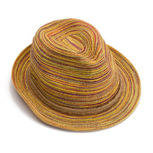 2015 beach hat straw sun cap women and men fedoras rainbow straw hats