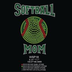 Green Softball Mom Designs Rhinestone Heat Transfers Wholesale For Clothing