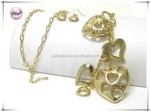 Multi metal heart dangle long chain necklace earring set
