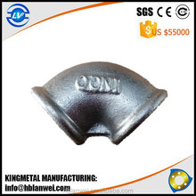 INQO Brand Beaded With Ribs Malleable Iron Elbow Pipe Fittings
