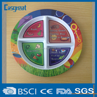 high quality plastic melamine compartment plate