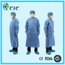 SMS hospital use Disposable nonwoven blue surgical gown