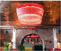 red glass hanging lamp,project large aluminium tubes pendant light