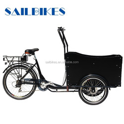 electric delivery bike front cargo tricycle with rain cover