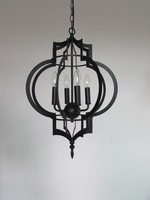 Nordic RH loft style black iron lantern crystal pendant lighting with candles
