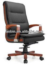 High Back Office Executive Chair With Wood Arms