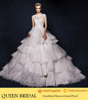 Real Pictures Cathedral/ Royal Train Wedding Dresses 2015 Ball Gown