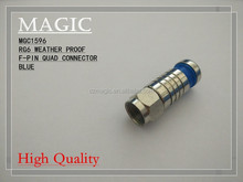 RG6 weather proof F-pin quad connector blue or black