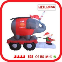 6 feet inflatable fire truck with Santa and elephant