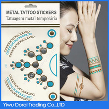 promotional women sexy gold & silver metallic temporary tattoo sticker women sexy hot image