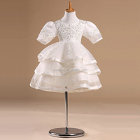 embroidered beautiful white ball gowns for kids for cheap