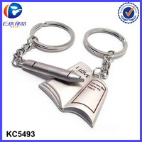 I LOVE YOU Pen & Book Design Metal Couple Lover Key Chain Ring manufacturer in China