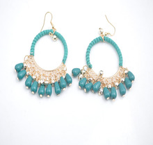2015 Blue Seed Beads Cross Elephant Dangle Tassel Earrings