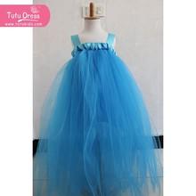 De mediana edad 2-11 años / niños Princess Party Girls liga de sólidos vestidos encaje azul