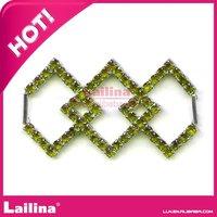 Fashion decorative green rhinestone belt buckles with 2 bars