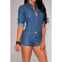 Vintage shirt collar 3/4 sleeve lace-up jeans jumpsuit romper for women short bodycon denim jumsuits sexy club wear