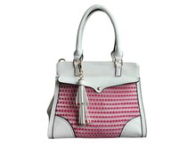 Everyday Whimsy Over Under Shoulder Tote Bag, Pink and White