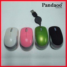 Mini Laptop Optical Mouse with Retractable Cable