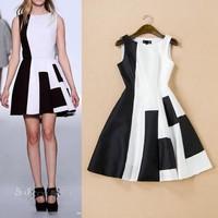 High Quality New Fashion Runway Dress 2015 Summer Women Black White Color Block Slim Fit A-Line Sweet Cute Dress Boutique Shop