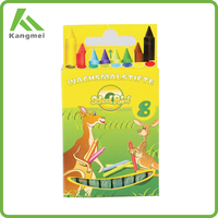 8 COLOR ANIMAL SHAPED PLASTIC CRAYON SET IN CLAMSHELL PACK
