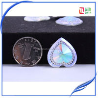 25mm 200pcs mixcolour Single row drilling resin heart stone ab color with silver foils for craft