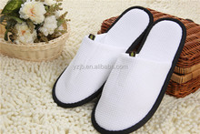 Black Dot Cloth Soles Waffle Material Hotel Slippers Closed toe Style