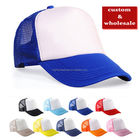 Mixed Wholes cheap two tone blank 5 panel plain or design your own logo trucker mesh hat snapback cap and hat for custom