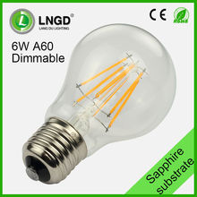 Warm white 3000K E27 A60 6w dimmable led filament bulb