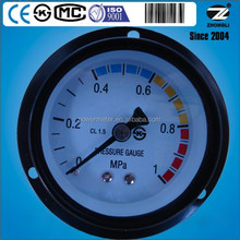 60mm axial mount gas pressure gauge manometer measuring device with front flange