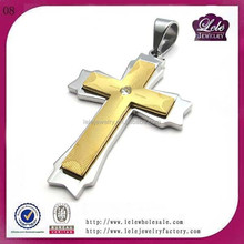 Stainless Steel Yellow Gold Plated Womens Cross Pendant