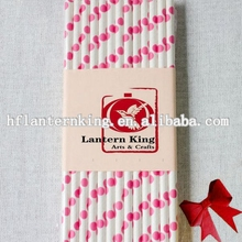 Bright Pink Fuchsia Polka Dotted Paper Straws