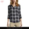 Women plaid cotton casual blouses designs long sleeve blouse