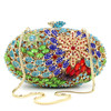 Customized Top quality oval shape flower crystal clutch bag drop shipping