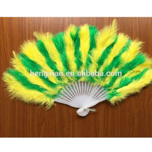 Wholesale Child yellow peacock feather fan Party supplies