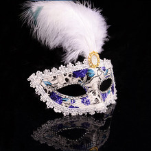 Alibaba wholesale Handmade Fashion Decorative Skull Head Feather Flower Party Facial Mask